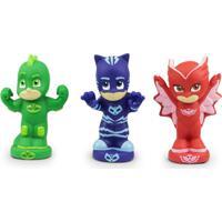 Figuras Que Esguicham Água - 12 Cm - Pj Masks - Menino Gato, Corujita E Lagartixo - Dtc - Unissex-Incolor