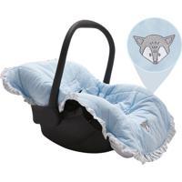 Capa Para Beb㪠Conforto Raposa- Azul Claro & Branca-Papi