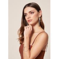 Bracelete Círculo Vazado Niquel - Um Feminino - Feminino-Prata