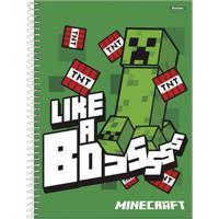 Caderno De Espiral - Capa Dura - Universitário - 01 Matéria - Minecraft - Like A Boss - Foroni