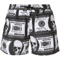 Philipp Plein Dollar Bill Print Swim Shorts - Preto