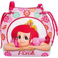 Bolsa Infantil Princesa Pink Estampa Floral - Feminino-Rosa