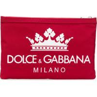 Dolce & Gabbana Clutch Com Logo - Vermelho