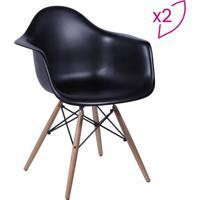 Jogo De Poltronas Eames Dar- Preto & Bege- 2Pã§S-Or Design