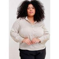 Camisa Lisa Almaria Plus Size Pianeta Punho Franzi