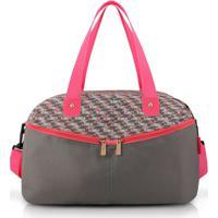 Bolsa De Viagem E Academia Jacki Design Nylon - Feminino-Cinza+Rosa