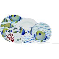 Aparelho Jantar E Chá Em 30 Peças Oceanos Porcelana Schmidt