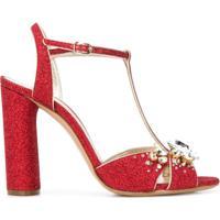 Casadei Sapato Com Aplicação - Vermelho