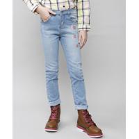 Calça Jeans Infantil Com Paetês Azul Claro