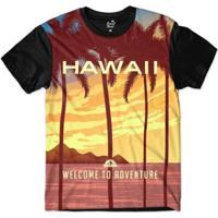 Camiseta Long Beach Hawaii Aventura Sublimada Masculina - Masculino-Vinho+Preto