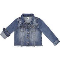 Jaqueta Jeans Desfiada Com Bolsos - Azul Marinhohering