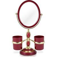 Espelho De Mesa Duplo Com Aumento 5X E Suportes Laterais Jacki Design Beauty Vinho