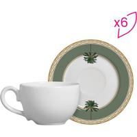 Conjunto De Xícaras De Chá Flat Tropical- Branco & Verdescalla Cerâmica