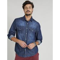 36cacdc1ac CEA  Camisa Jeans Masculina Com Recortes Manga Longa Gola Esporte Azul  Escuro