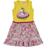 Vestido Infantil Para Menina - Amarelo/Rosa