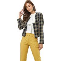 Casaqueto Mx Fashion Tweed Xadrez Chelsea Preto/Amarelo - Kanui
