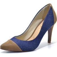 Scarpin Gisela Costa Azul/Marrom