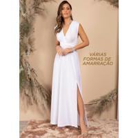 Vestido Longo Branco Frente Única Com Amarração