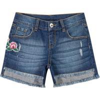 Short Jeans Com Patch- Azul Escuro & Rosa- Marisolmarisol