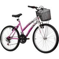 Bicicleta Aro 24 - Modelo Parati 18 Velocidades Branco/Magenta Track & Bikes