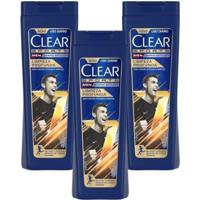Kit 3 Shampoos Anticaspa Clear Men Limpeza Profunda 400Ml - Unissex-Incolor