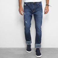 Calça Jeans Reta Colcci Enrico Com Dobra Bordada Masculina - Masculino-Jeans