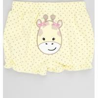 Short Infantil Girafa Estampado De Poá Com Babados Amarelo
