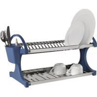 Escorredor 20 Pratos - Suprema 60,5 X 27,5 X 29 Cm Azul Brinox