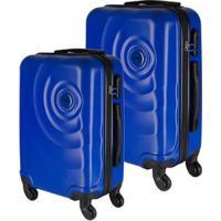 Conjunto De Malas De Viagem Em Abs Star Yins Cadeado Embutido Rodas Giro 360º 2 Peças - Masculino-Azul