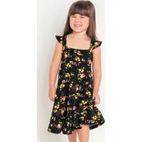 Vestido Infantil Com Alça Floral Moda Evangélica