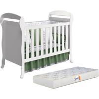 Berço Reller - Móveis Infantis Mini Cama Danny Reller Com Colchão D18 Branco Fosco,