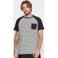 Camiseta Element Pocket Stripes Masculina - Masculino-Preto+Branco