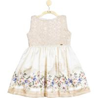 Vestido Para Festa Pupi Baby Floral Com Rendas Luxo Creme
