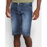 Bermuda Jeans Preston Elastano Bigode Amassada Masculina - Masculino-Azul