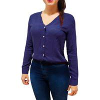 Camisa Blusa Feminina Social Manga Longa Gola V Azul Marinho