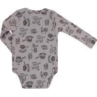 Body Masculino Up Baby Em Suedine Telefone - Masculino-Cinza