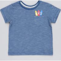 Camiseta Infantil Listrada Giz De Cera Com Bolso Manga Curta Gola Careca Azul