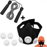 Mascara De Treinamento Respiratorio + Corda De Pular Com Rolamento Liveup - Unissex
