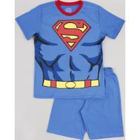 Pijama Infantil Super Homem Manga Curta Azul