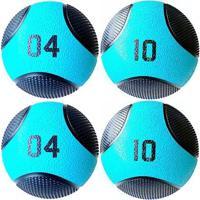 Kit 4 Medicine Ball Liveup Pro 4 E 10 Kg Bola De Peso Treino Funcional - Unissex