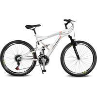 Bicicleta Kyklos Aro 26 Caballu 7.8 Suspensáo Full Baixa A-36 21V Branco/Laranja - Tricae