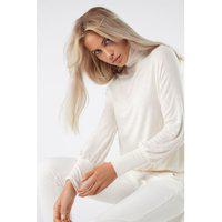 Blusa De Manga Comprida Em Cashmere E Modal Ultraleve - Off-White M