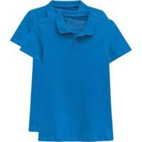Kit De 2 Camisas Polo Femininas Azul