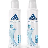Kit 2 Desodorantes Adidas Cool & Care Fresh Aerosol Feminino 150Ml - Feminino-Incolor