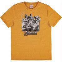 Camiseta Em Meia Malha Estampada Amarelo
