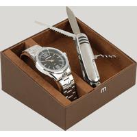 Kit De Relógio Analógico Mondaine Masculino + Canivete - 83421G0Mvne1K Prateado - Único
