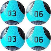 Kit 4 Medicine Ball Liveup Pro 3 E 6 Kg Bola De Peso Treino Funcional - Unissex