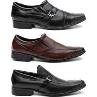 Kit 3 Pares Sapato Social Hshoes Couro Conforto Elegante Masculino - Masculino-Preto+Marrom