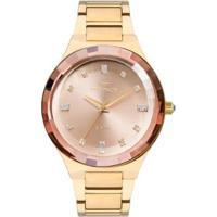 Relógio Feminino Technos Elegance Crystal 2036Mjk/4T Pulseira Aço Dourada - Feminino-Dourado