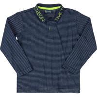 Camisa Infantil Polo Listrada Azul